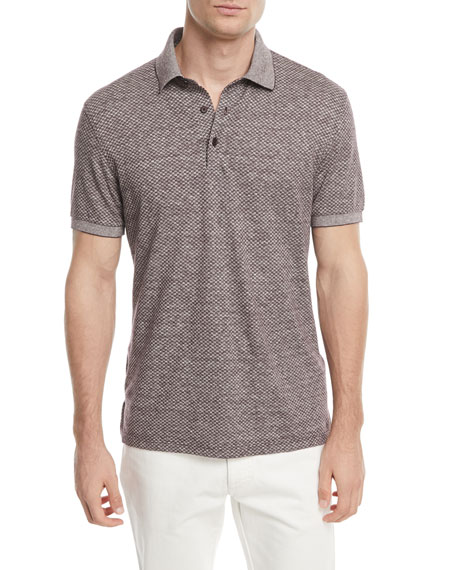 Linen-Blend Micro-Design Polo Shirt