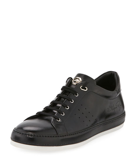 Shiny Leather Signature Sneaker, Black