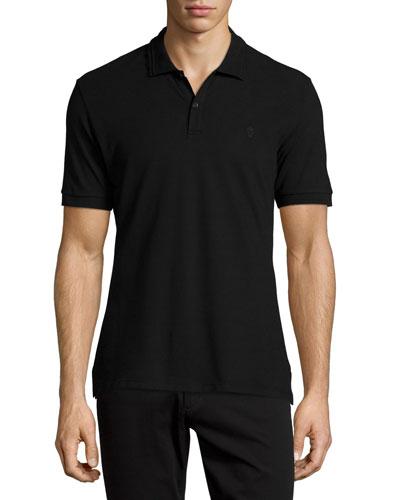 Pique Skull-Logo Polo Shirt, Black