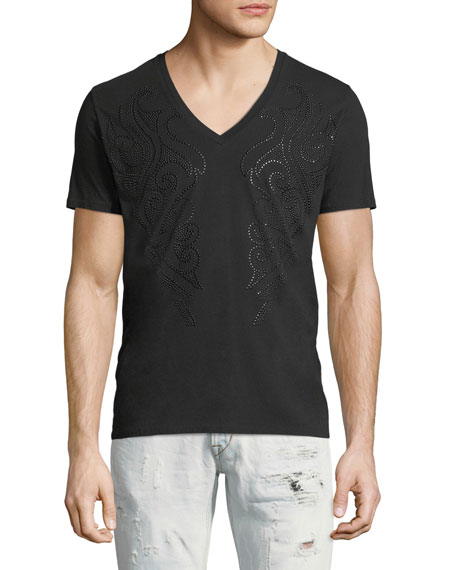 Beaded V-Neck T-Shirt