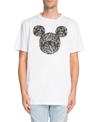 Snake-Print Mickey Mouse-Graphic T-Shirt