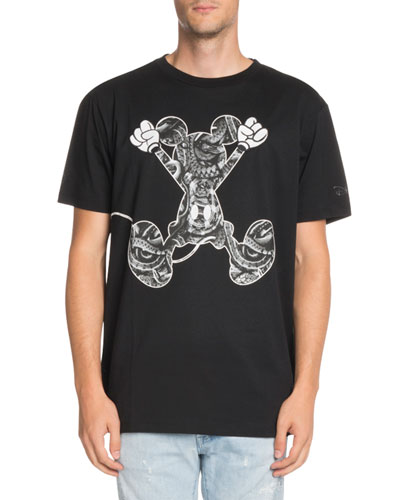 Snake-Print Jumping Mickey Mouse-Graphic T-Shirt