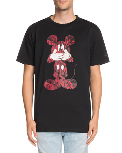 Contrast Mickey Mouse-Graphic T-Shirt