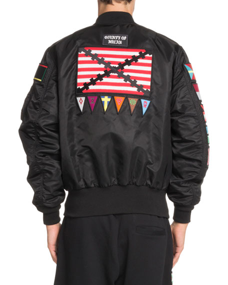 Flags-Applique Satin Bomber Jacket