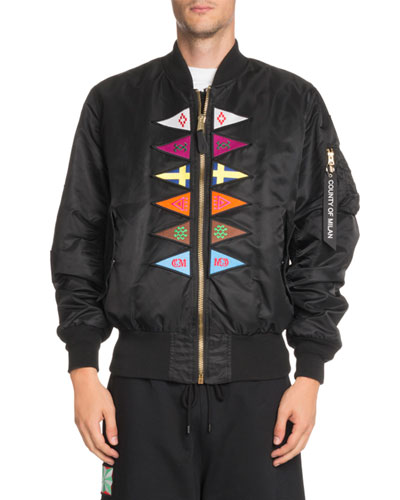 Flags-Appliqé Satin Bomber Jacket