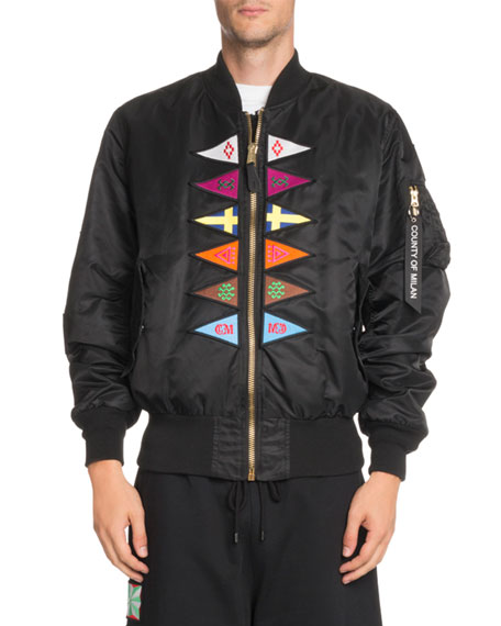 Ma-1 Embroidered Bomber Jacket - Black Size Xl