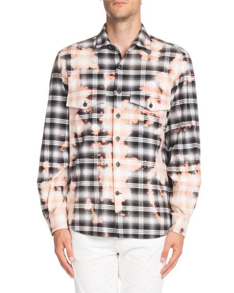 Marcelo Burlon Bleach-Distressed Plaid Shirt