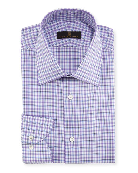 Ike Behar Plaid Cotton Dress Shirt