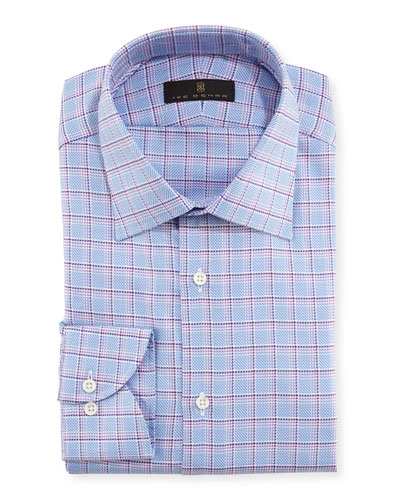 Textured Plaid Cotton Dress Shirt