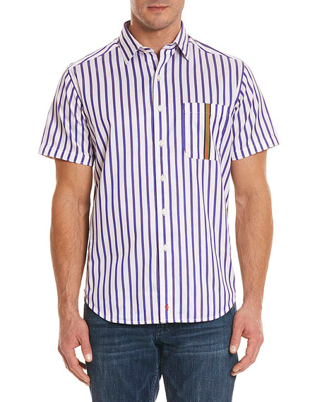Robert Graham Venero Striped Short-Sleeve Sport Shirt