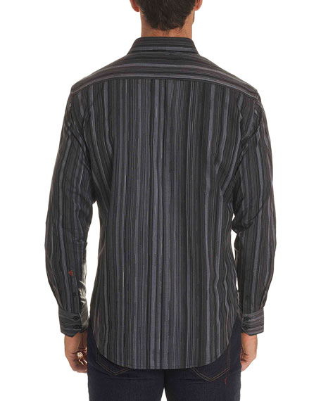 Lopez Striped Long-Sleeve Sport Shirt