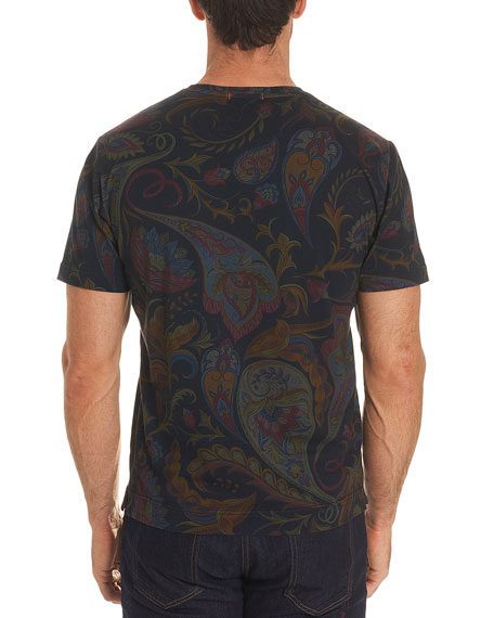 Skull Rose-Graphic Paisley-Print T-Shirt
