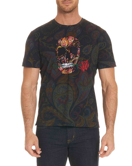 Robert Graham Skull Rose-Graphic Paisley-Print T-Shirt