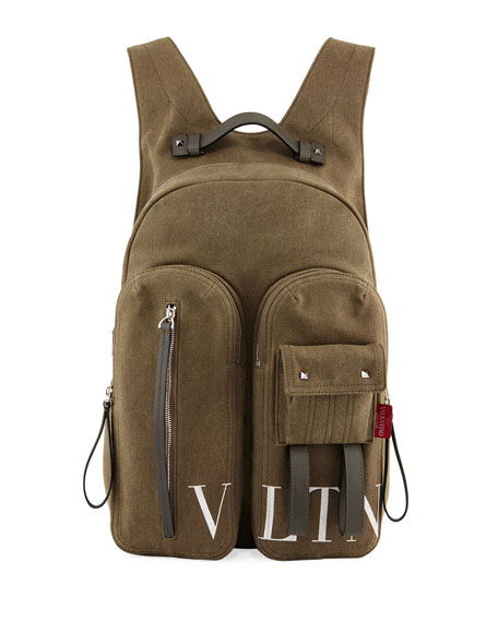 Valentino Garavani Men's VLTN Logo-Graphic Canvas Backpack