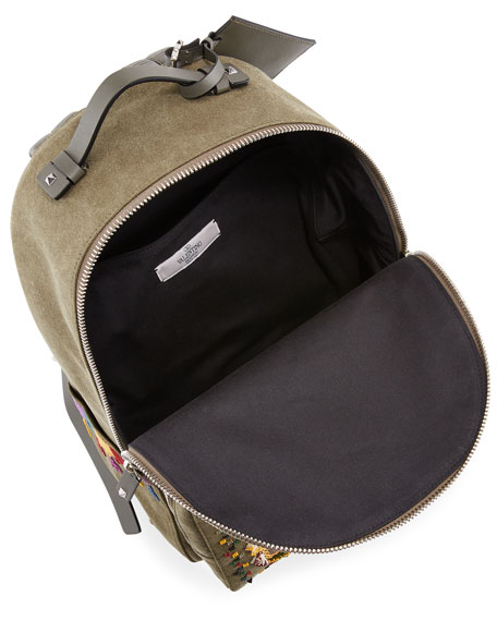 Men's Beaded Canvas Backpack