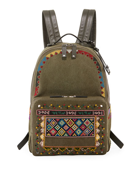 Valentino Garavani Men's Beaded Canvas Backpack