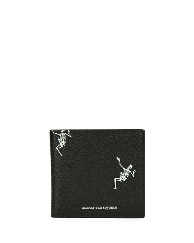 Skeleton-Print Bi-Fold Leather Wallet