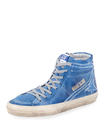 Slide Distressed Leather High-Top Sneaker