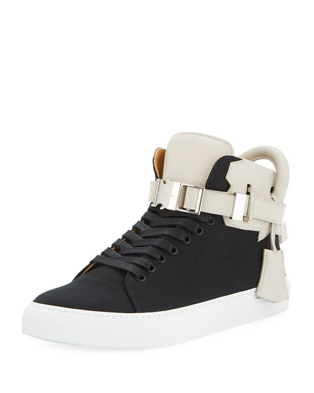 Buscemi 100mm Clip Canvas Mid-Top Sneaker, Black/White