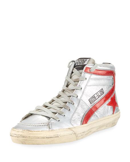 Men's Slide High-Top Leather Sneakers