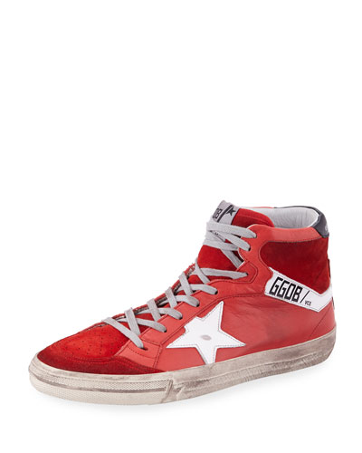 Mid-Top Distressed Leather Sneaker
