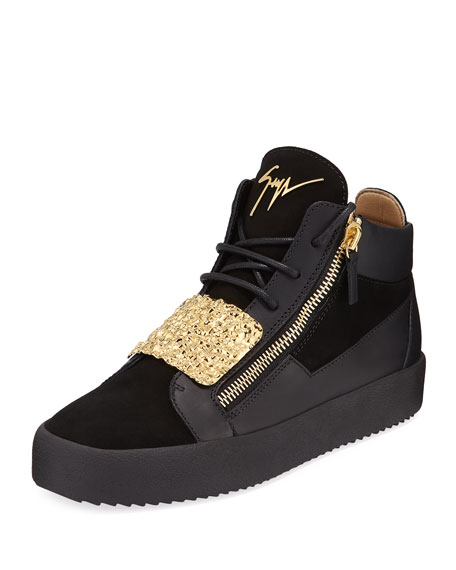 Giuseppe Zanotti Men's Hammered-Plate Leather Mid-Top Sneaker