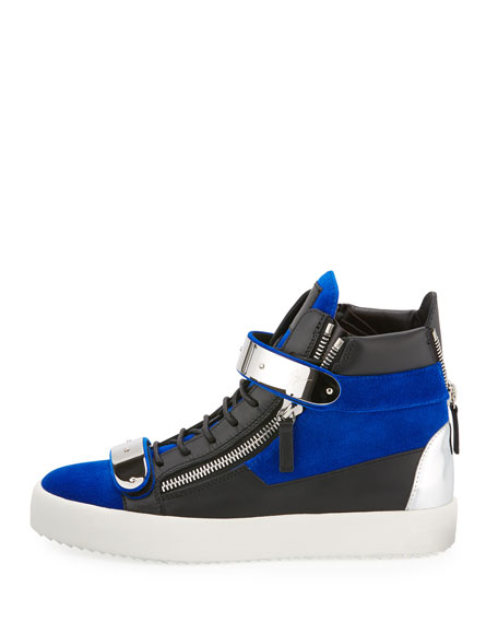 Men's Velvet Double-Bar High-Top Sneakers, Blue