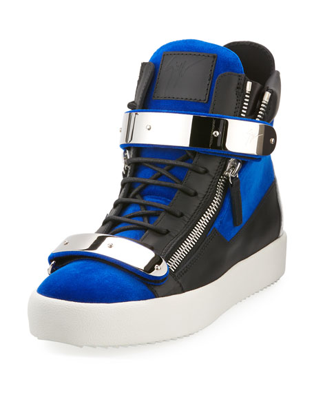 Giuseppe Zanotti Men's Velvet Double-Bar High-Top Sneakers, Blue