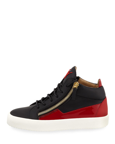 Men's Mid-Top Two-Tone Platform Sneakers, Black/Red