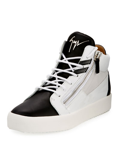 Men's Mid-Top Two-Tone Platform Sneaker, White/Black
