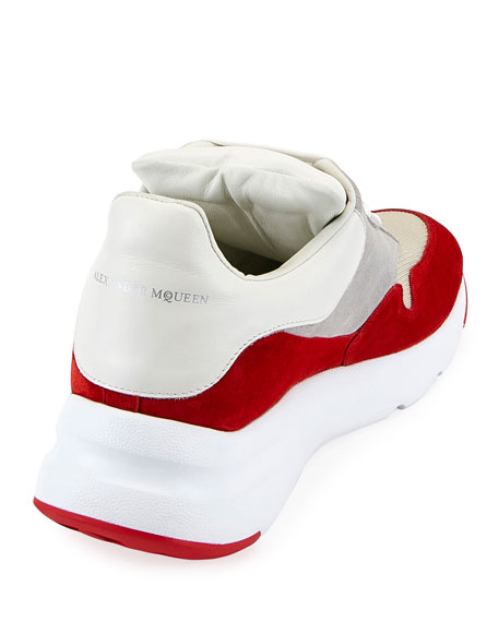 Oversized Leather Runner Sneaker, Red/White