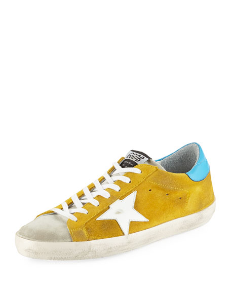 Men's Superstar Suede Low-Rise Sneaker, Yellow