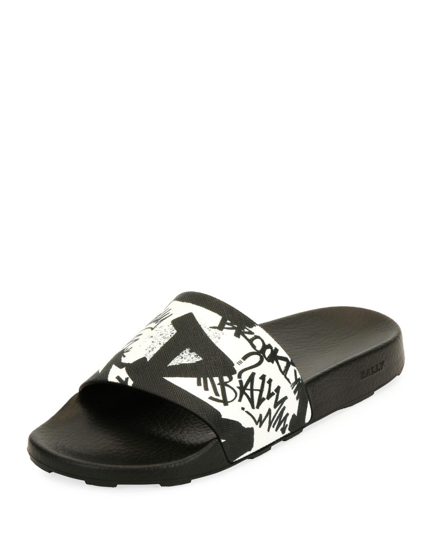 24485c0bb Bally Slanter Graffiti Slide Sandal | Neiman Marcus