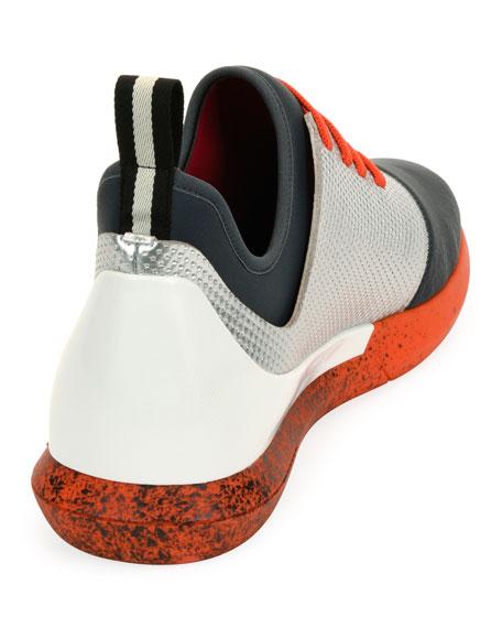 Avro Leather & Neoprene Trainer Sneaker, Silver