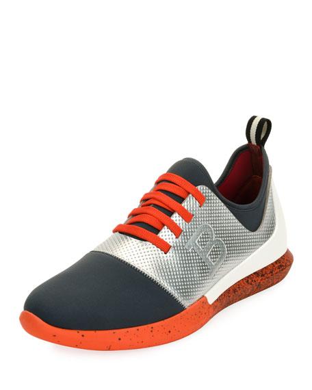 Bally Avro Leather & Neoprene Trainer Sneaker, Silver