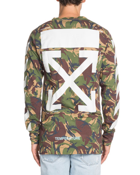 Long-Sleeve Camouflage-Print T-Shirt