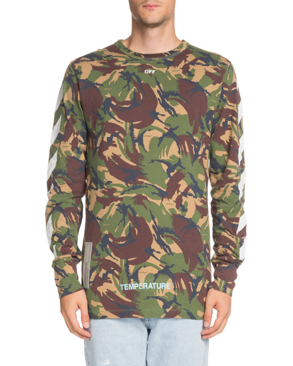Off White Long Sleeve Camouflage Print T Shirt Neiman Marcus