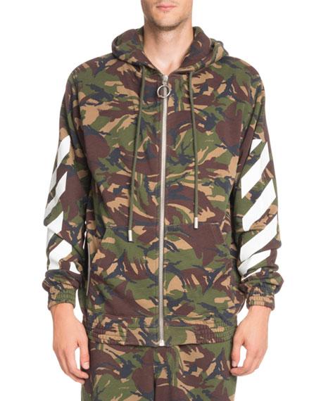 Arrows Camouflage-Print Zip-Front Hoodie