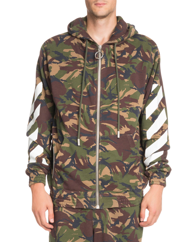 Off White Arrows Camouflage Print Zip Front Hoodie Neiman Marcus