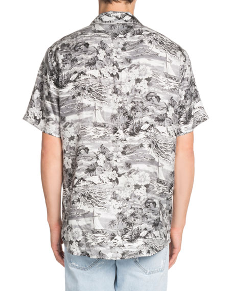 Hawaiian-Print Short-Sleeve Silk Sport Shirt