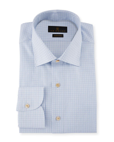 Marcus Grid-Check Cotton Barrel-Cuff Dress Shirt