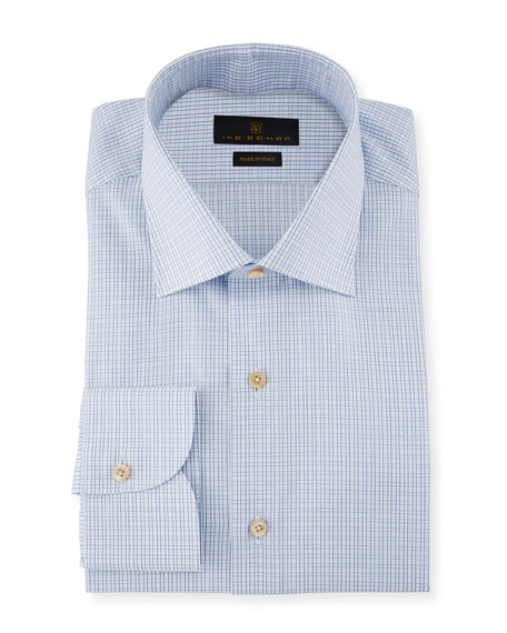 Ike Behar Marcus Grid-Check Cotton Barrel-Cuff Dress Shirt