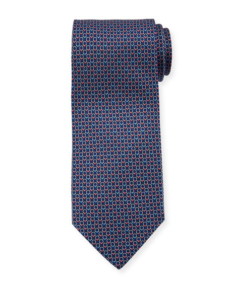 Salvatore Ferragamo Interlocking Gancini-Print Silk Tie
