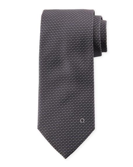Dash-Pattern Silk Tie