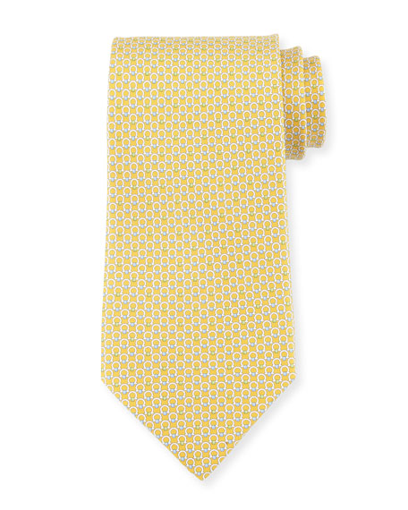 Gancini Bit Silk Tie, Yellow