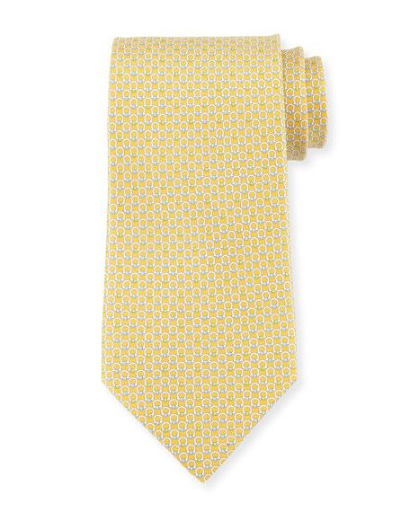Salvatore Ferragamo Gancini Bit Silk Tie, Yellow