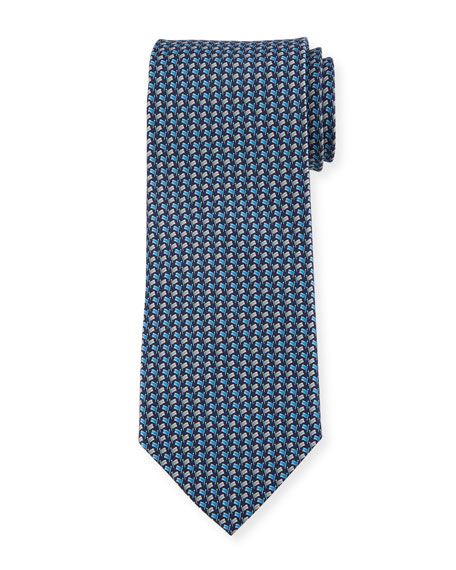 Salvatore Ferragamo Flag-Pattern Silk Tie, Blue