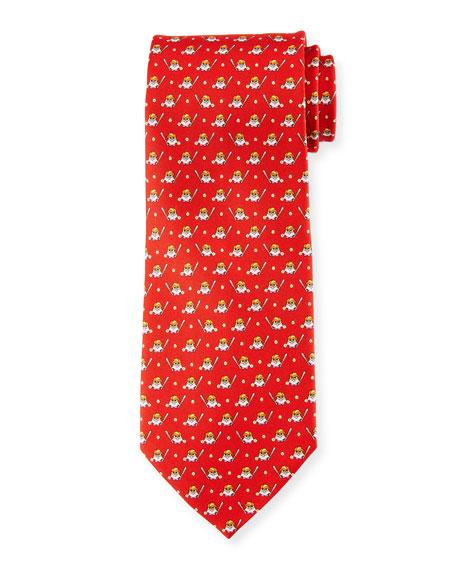 Baseball Owl Silk Tie