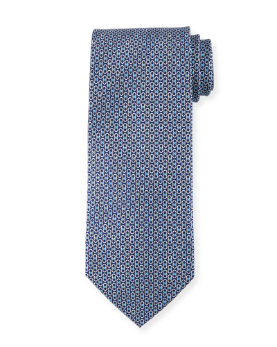 Linked-Gancini Pattern Silk Tie