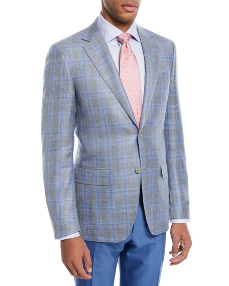 Wool-Blend Plaid Two-Button Blazer